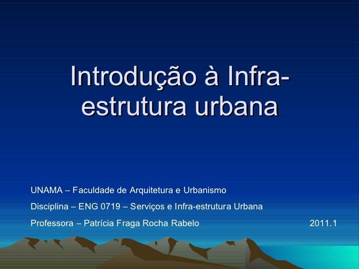 Introdução à Infra-estrutura urbana UNAMA – Faculdade de Arquitetura e Urbanismo Disciplina – ENG 0719 – Serviços e Infra-...