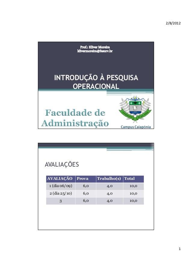 2/8/2012  INTRODUÇÃO À PESQUISA OPERACIONAL  AVALIAÇÕES AVALIAÇÃO  Prova  Trabalho(s) Total  1 (dia 06/09)  6,0  4,0  10,0...