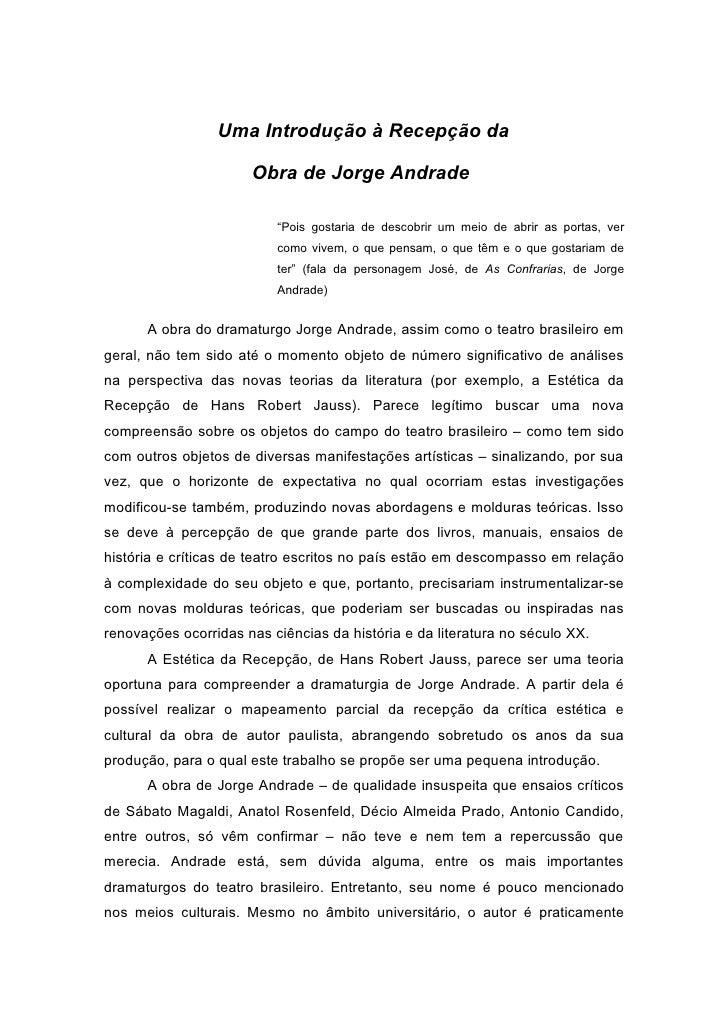 Introdução á recepção da obra de jorge andrade