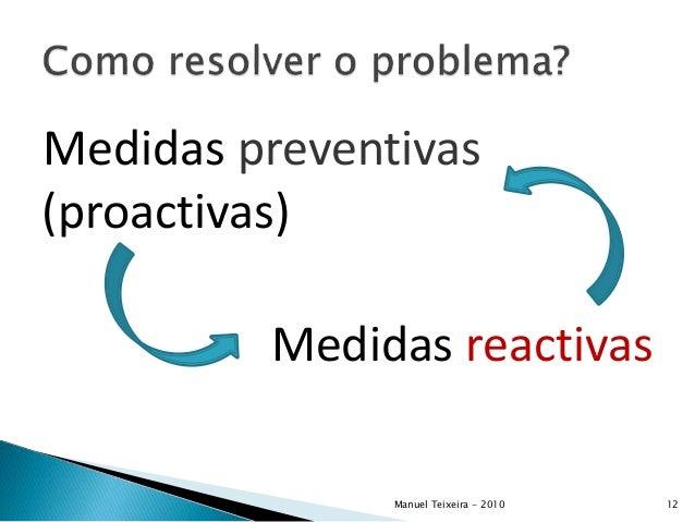 Medidas preventivas (proactivas) Medidas reactivas Manuel Teixeira - 2010 12