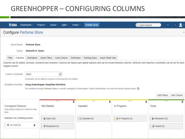 SETTING COLUMN CONSTRAINTS • To set 'Maximum' and 'Minimum' constraints for a column of a board: • Click Agile > Manage Bo...