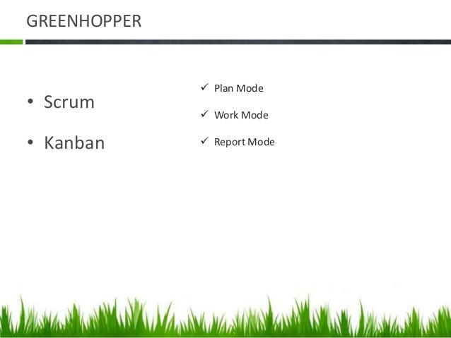 GREENHOPPER • Scrum • Kanban  Plan Mode  Work Mode  Report Mode