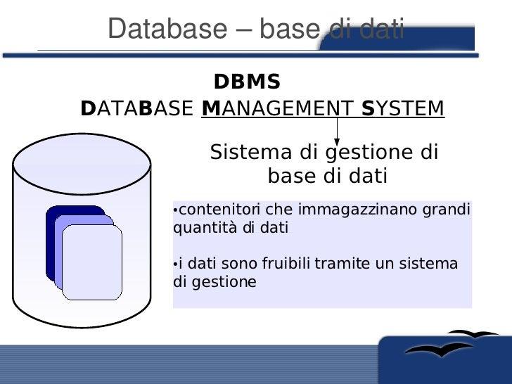Database–basedidati           DBMS DATABASE MANAGEMENT SYSTEM             Sistema di gestione di                 base ...