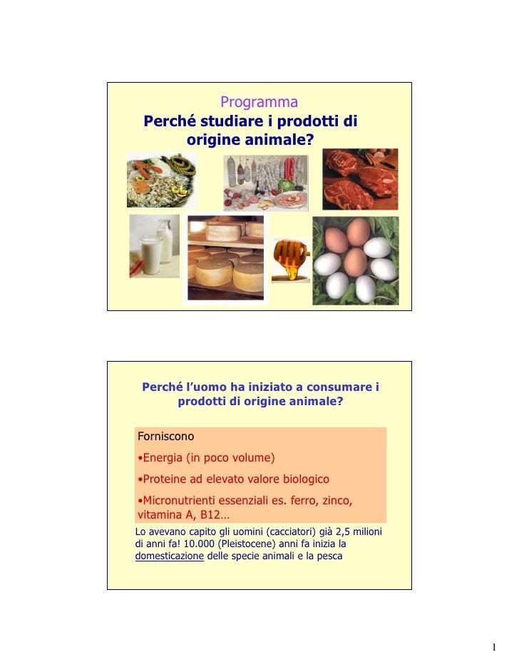Programma Perché studiare i prodotti di      origine animale? Perché l'uomo ha iniziato a consumare i      prodotti di ori...