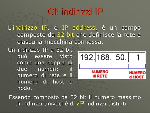Gli indirizzi IP L'indirizzo IP, o IP address, è un campo composto da 32 bit che definisce la rete e ciascuna macchina con...
