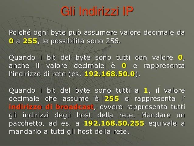 Gli Indirizzi IP Poiché ogni byte può assumere valore decimale da 0 a 255, le possibilità sono 256. Quando i bit del byte ...