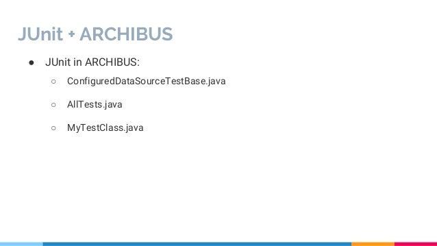 Introduzione a junit + integrazione con archibus