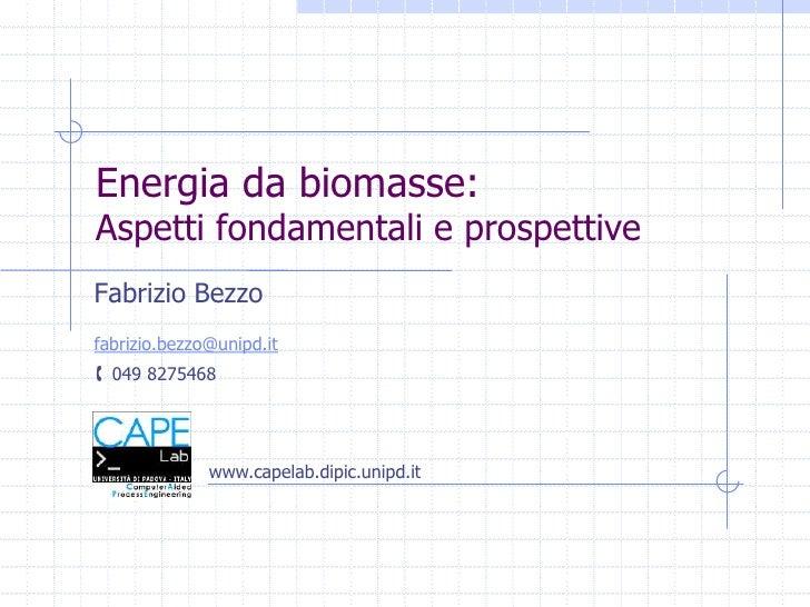 Energia da biomasse:Aspetti fondamentali e prospettive<br />Fabrizio Bezzo<br />fabrizio.bezzo@unipd.it<br />049 8275468<...