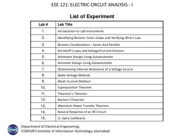 Electric Instruments List : Electric circuit introduction lecture