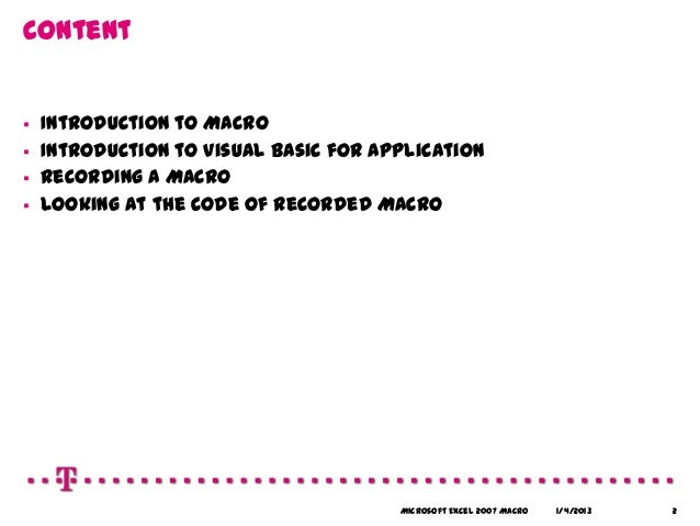 Intro macros in Excel 2007