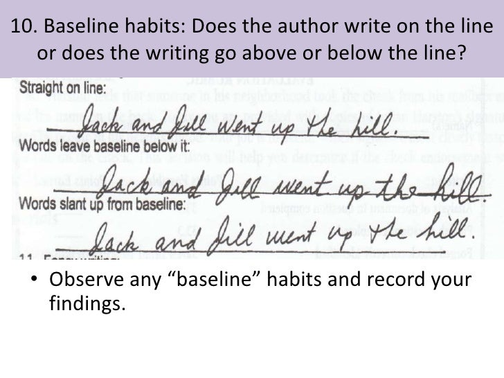 Graphology writing above the line