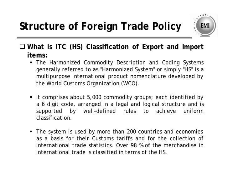 Indian trade classification harmonized commodity description and coding system
