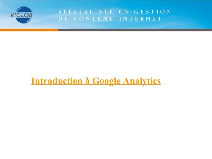Introduction à Google Analytics
