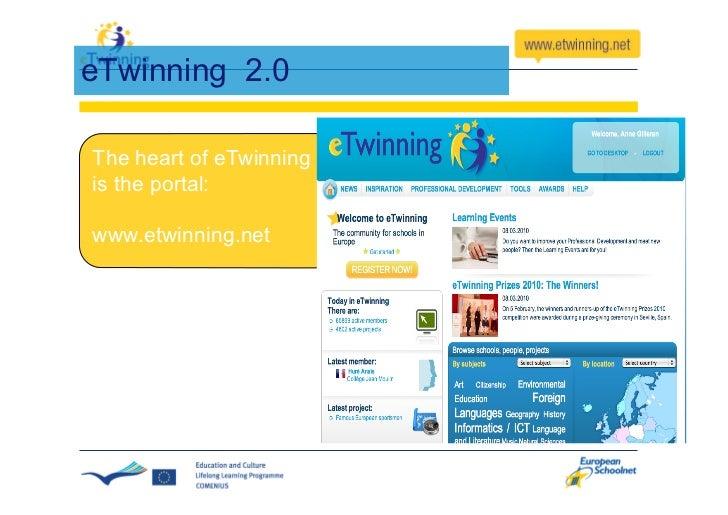 eTwinning Portal – 3 layers 1. The Public Portal                     2. The Desktop     Public Information for all       ...