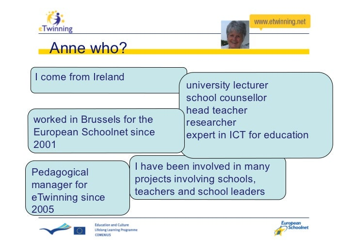 Anne who? I come from Ireland                                 university lecturer                                 school c...