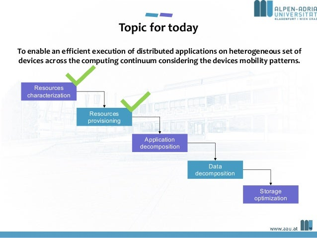 14 Resources characterization Resources provisioning Application decomposition Data decomposition Storage optimization To ...