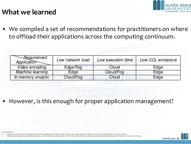 What we learned • We compiled a set of recommendations for practitioners on where to offload their applications across the...