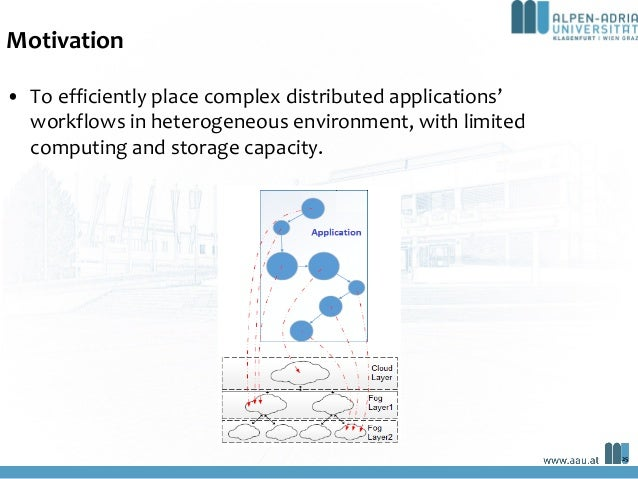 Motivation • To efficiently place complex distributed applications' workflows in heterogeneous environment, with limited c...