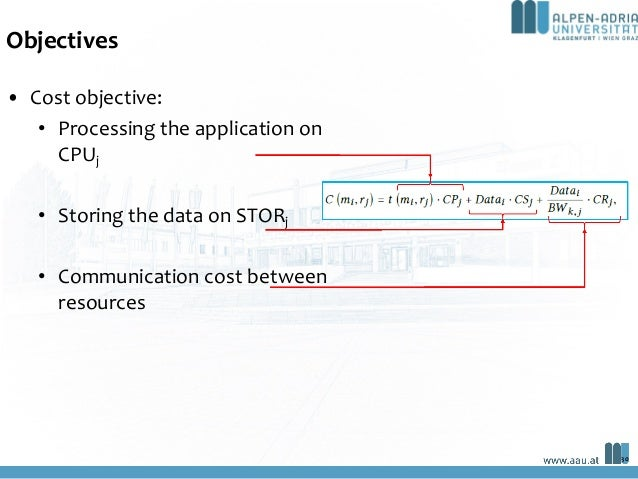 Objectives • Cost objective: • Processing the application on CPUj • Storing the data on STORj • Communication cost between...