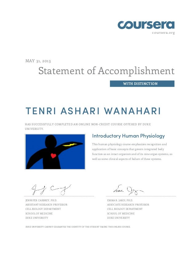 Coursera Certificate Introductory Human Physiology