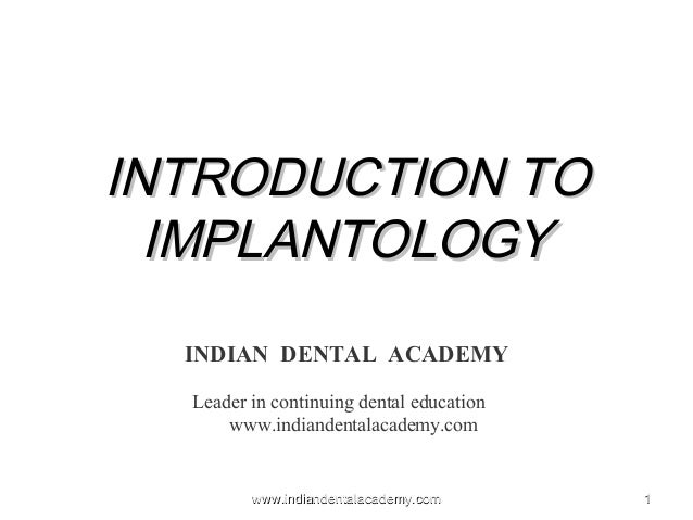 Introduction to Dental implants / dental courses