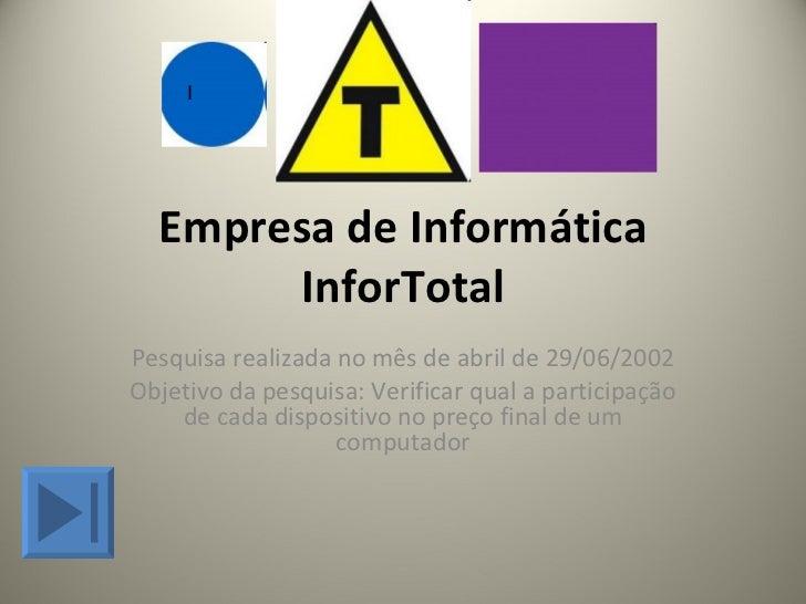 Empresa de Informática InforTotal Pesquisa realizada no mês de abril de 29/06/2002 Objetivo da pesquisa: Verificar qual a ...