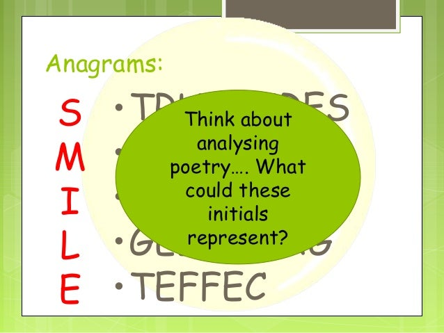 Anagrams:  S M I L E  •TRUTCURES Think about analysing •GINNEAM poetry…. What could these •YEGIMRA initials represent? •GE...