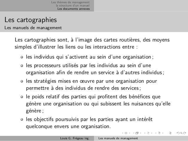 Les thèmes de management la structure d'un manuel Les documents annexes  Les cartographies Les manuels de management  Les ...