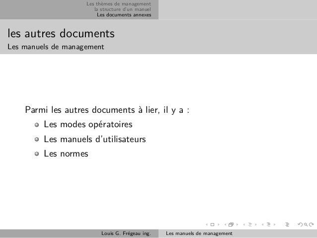 Les thèmes de management la structure d'un manuel Les documents annexes  les autres documents Les manuels de management  P...