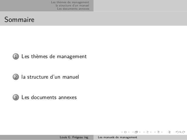Les thèmes de management la structure d'un manuel Les documents annexes  Sommaire  1  Les thèmes de management  2  la stru...