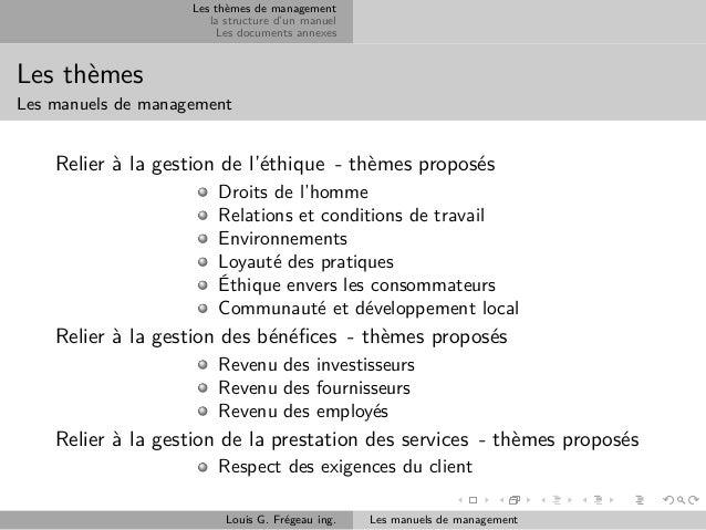 Les thèmes de management la structure d'un manuel Les documents annexes  Les thèmes Les manuels de management  Relier à la...