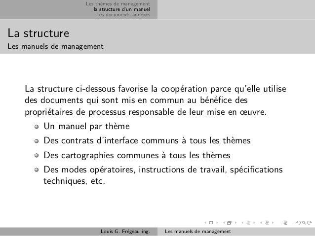 Les thèmes de management la structure d'un manuel Les documents annexes  La structure Les manuels de management  La struct...