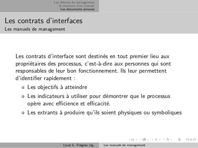 Les thèmes de management la structure d'un manuel Les documents annexes  Les contrats d'interfaces Les manuels de manageme...