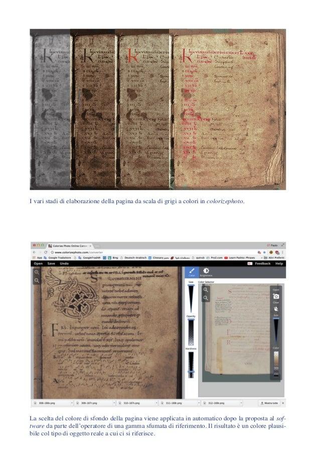 I vari stadi di elaborazione della pagina da scala di grigi a colori in colorizephoto. La scelta del colore di sfondo dell...