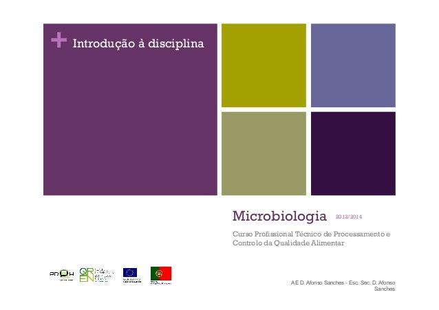 + Microbiologia Curso Profissional Técnico de Processamento e Controlo da Qualidade Alimentar 2013/2014 AE D. Afonso Sanch...