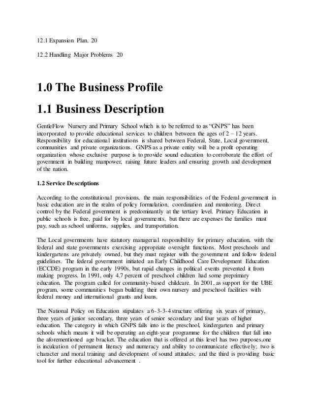 business plan for a primary school
