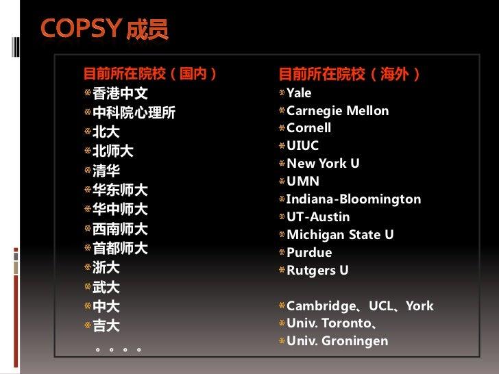 目前所在院校(国内)   目前所在院校(海外) 香港中文        Yale 中科院心理所      Carnegie Mellon 北大          Cornell 北师大         UIUC             New ...