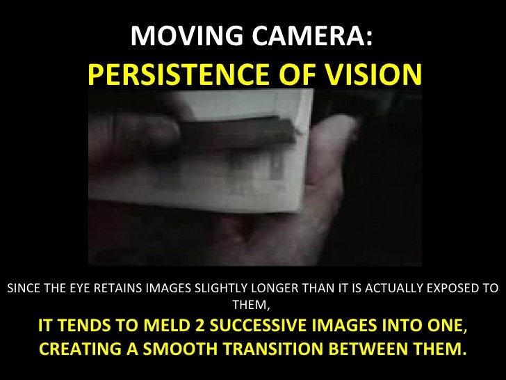 MOVING CAMERA:  PERSISTENCE OF VISION SINCE THE EYE RETAINS IMAGES SLIGHTLY LONGER THAN IT IS ACTUALLY EXPOSED TO THEM,  I...