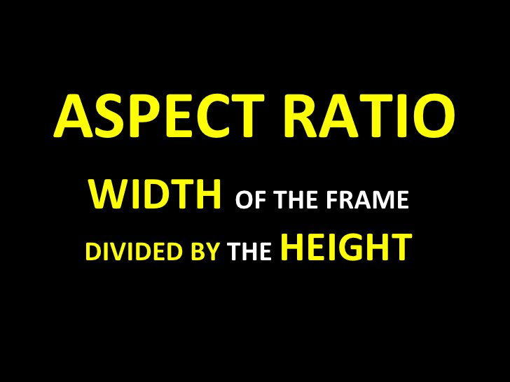 ASPECT RATIO WIDTH   OF THE FRAME  DIVIDED BY  THE  HEIGHT