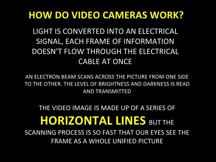 HOW DO VIDEO CAMERAS WORK? LIGHT IS CONVERTED INTO AN ELECTRICAL SIGNAL, EACH FRAME OF INFORMATION DOESN'T FLOW THROUGH TH...