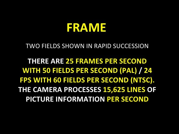 FRAME TWO FIELDS SHOWN IN RAPID SUCCESSION THERE ARE  25 FRAMES PER SECOND WITH 50 FIELDS PER SECOND (PAL)  /  24 FPS WITH...