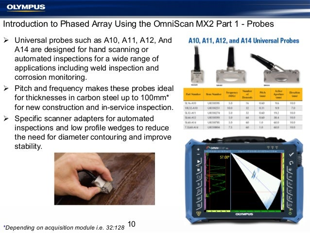 Introduction to Phased Array Using the OmniScan MX2 Part 1 - Probes Ø Universal probes such as A10, A11, A12, And A14 ar...