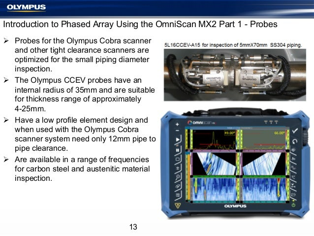 Introduction to Phased Array Using the OmniScan MX2 Part 1 - Probes Ø Probes for the Olympus Cobra scanner and other tig...