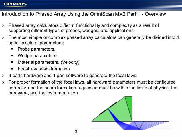 Introduction to Phased Array Using the OmniScan MX2 Part 1 - Overview Ø Ø  Ø Ø  Phased array calculators differ in...