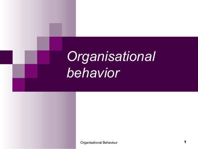 Organisational Behaviour 1 Organisational behavior