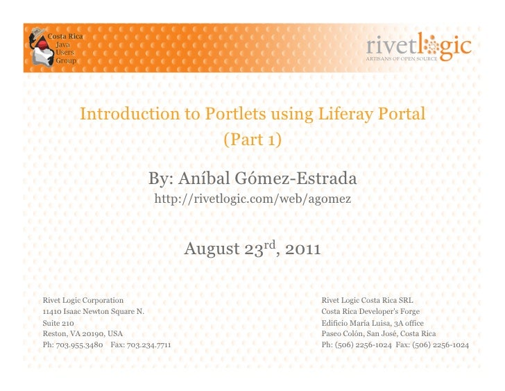 ARTISANS OF OPEN SOURCE         Introduction to Portlets using Liferay Portal                           (Part 1)          ...
