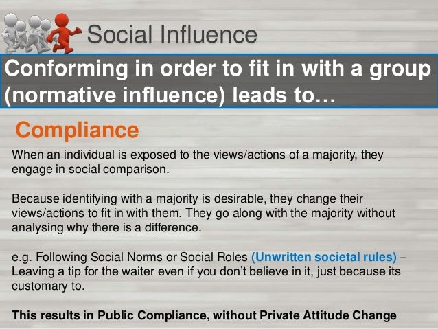 Social Influence To Finish: When have you conformed? Think of and write down two times in which you have conformed. Make s...