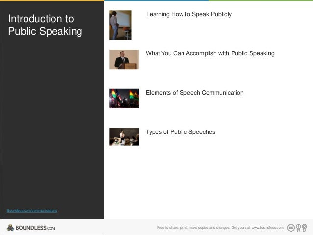 Introduction to Public Speaking  Learning How to Speak Publicly  What You Can Accomplish with Public Speaking  Elements of...
