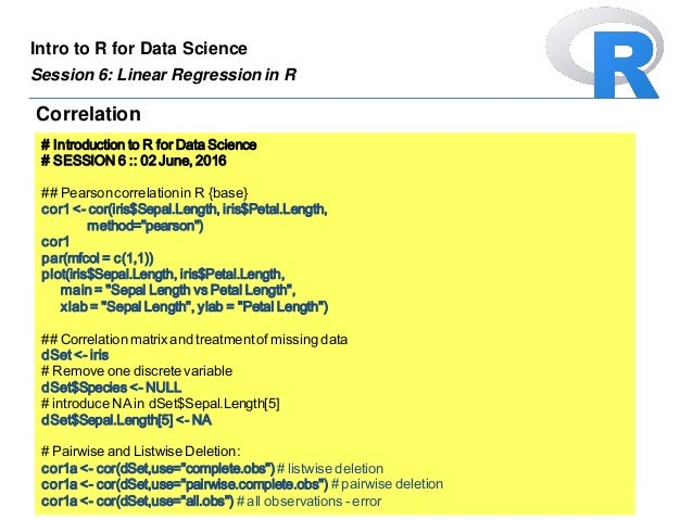 Introduction to R for Data Science :: Session 6 [Linear
