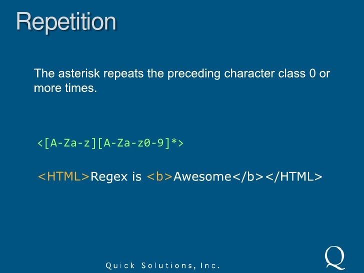 Shorthand Character Classes<br />d – digit or [0-9]<br />w – word or [A-Za-z0-9_]<br />s – whitespace or [  ] (space, ta...